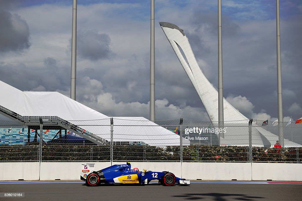 <a gi-track='captionPersonalityLinkClicked' href=/galleries/search?phrase=Felipe+Nasr&family=editorial&specificpeople=7881965 ng-click='$event.stopPropagation()'>Felipe Nasr</a> of Brazil driving the (12) Sauber F1 Teamo Sauber C35 Ferrari 059/5 turbo on track during practice for the Formula One Grand Prix of Russia at Sochi Autodrom on April 29, 2016 in Sochi, Russia.