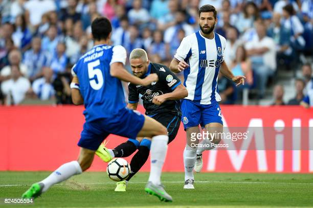 Felipe of FC Porto competes for the ball with Andone of RC Deportivo La Coruna during the PreSeason Friendly match between FC Porto and RC Deportivo...