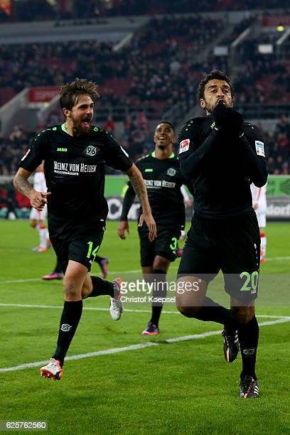 Felipe of Hannover celebrates the second goal with Martin Harnik during the Second Bundesliga match between Fortuna Duesseldorf and Hannover 96 at...