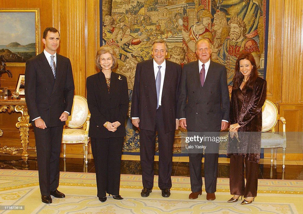 Spanish Royals receive Argentinian President Kirchner and Wife Cristina de Kirchner for a Private Dinner at Zarzuela Palace in M