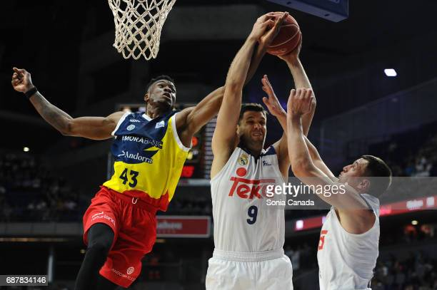 Felipe Reyes #9 forward of Real Madrid and Antetokounmpo #43 center of Andorra during the Liga Endesa Play off game between Real Madrid and Andorra...