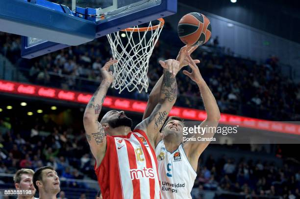 Felipe Reyes #9 forward of Real Madrid and Pero Antic #12 center of Crvena Zvezda Mts Belgrade during the 2017/2018 Turkish Airlines Euroleague...