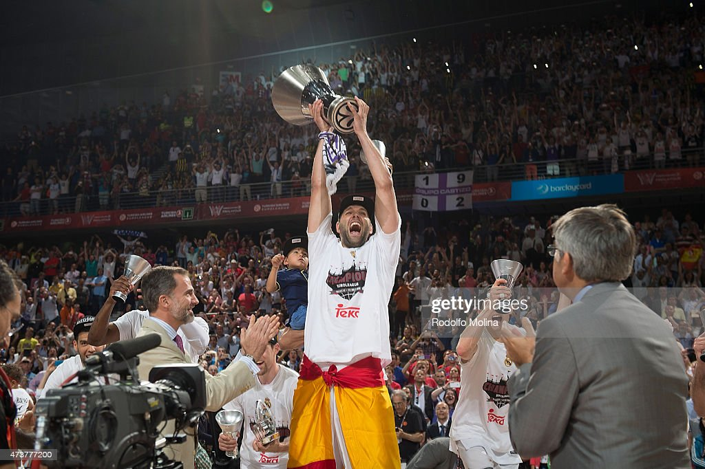 Felipe Reyes #9 of Real Madrid celebrates during the Turkish Airlines Euroleague Final Four Madrid 2015 Champion Trophy Ceremony at Barclaycard...