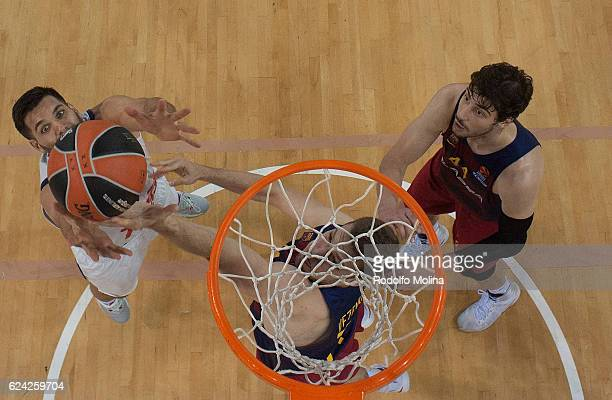 Felipe Reyes #9 of Real Madrid competes with Aleksandar Vezenkov #14 of FC Barcelona Lassa during the 2016/2017 Turkish Airlines EuroLeague Regular...