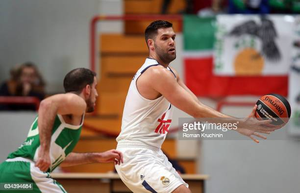 Felipe Reyes #9 of Real Madrid competes with Quino Colom #10 of Unics Kazan during the 2016/2017 Turkish Airlines EuroLeague Regular Season Round 22...