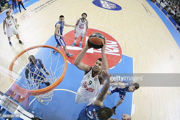 Felipe Reyes #9 of Real Madrid in action during the 20142015 Turkish Airlines Euroleague Basketball Play Off Game 1 between Real Madrid v Anadolu...