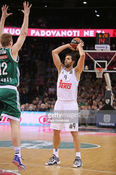 Felipe Reyes #9 of Real Madrid in action during the 20152016 Turkish Airlines Euroleague Basketball Top 16 Round 10 game between Zalgiris Kaunas v...