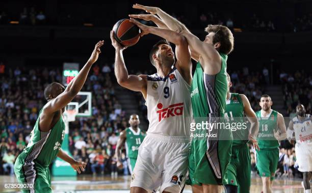 Felipe Reyes #9 of Real Madrid in action during the 2016/2017 Turkish Airlines EuroLeague Playoffs leg 3 game between Darussafaka Dogus Istanbul v...