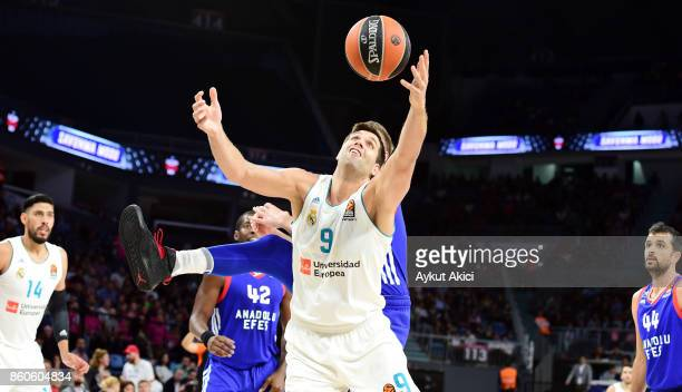 Felipe Reyes #9 of Real Madrid in action during the 2017/2018 Turkish Airlines EuroLeague Regular Season Round 1 game between Anadolu Efes Istanbul v...