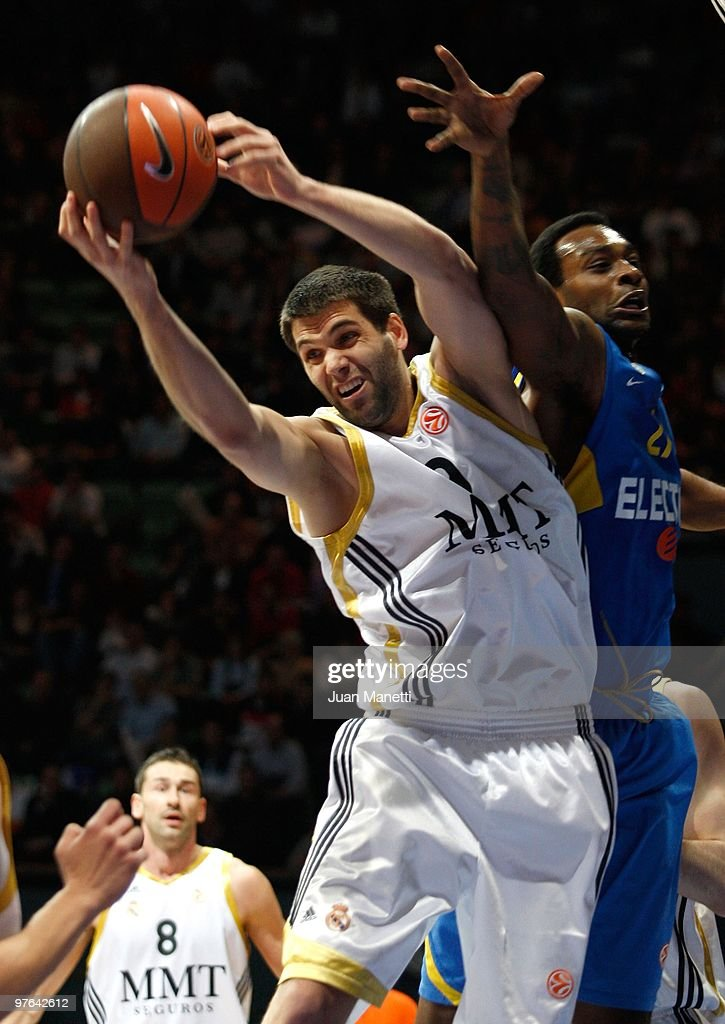 Felipe Reyes #9 of Real Madrid in action during the Euroleague Basketball 20092010 Last 16 Game 6 between Real Madrid vs Maccabi Electra Tel Aviv at...