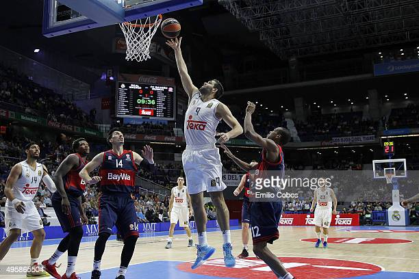 Felipe Reyes #9 of Real Madrid in action during the Turkish Airlines Euroleague Basketball Regular Season date 4 game between Real Madrid v FC Bayern...