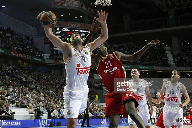 Felipe Reyes #9 of Real Madrid in action during the Turkish Airlines Euroleague Basketball Regular Season Round 10 game between Real Madrid v...