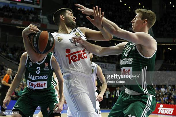 Felipe Reyes #9 of Real Madrid in action during the Turkish Airlines Euroleague Basketball Top 16 Round 3 game between Real Madrid v Zalgiris Kaunas...