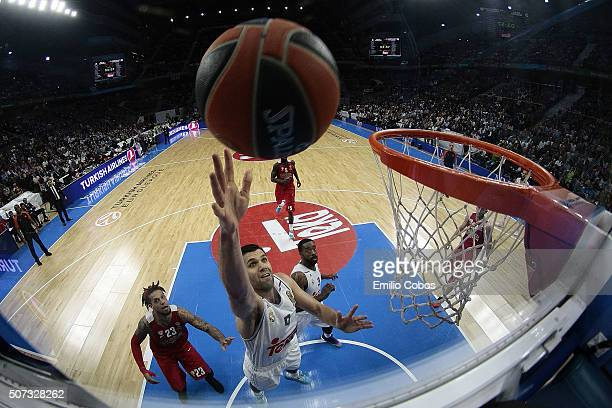 Felipe Reyes #9 of Real Madrid in action during the Turkish Airlines Euroleague Basketball Top 16 Round 5 game between Real Madrid v Olympiacos...