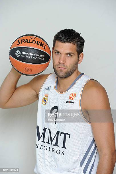 Felipe Reyes #9 of Real Madrid poses during the Real Madrid 2013/14 Turkish Airlines Euroleague Basketball Media Day at Palacio Deportes Comunidad de...