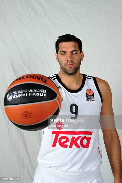 Felipe Reyes #9 poses during the Real Madrid 2014/2015 Turkish Airlines Euroleague Basketball Media Day at Barclaycard Center on October 2 2014 in...