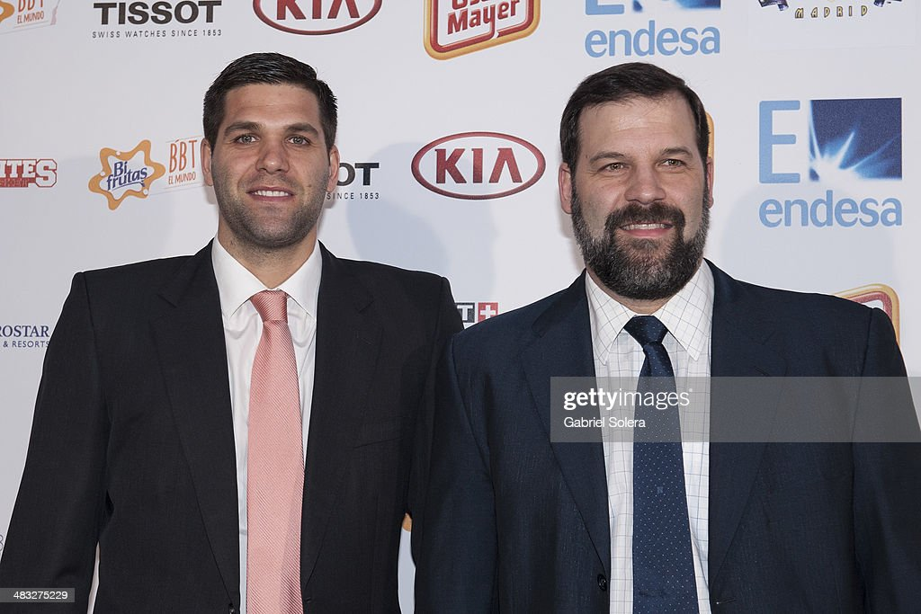 <a gi-track='captionPersonalityLinkClicked' href=/galleries/search?phrase=Felipe+Reyes&family=editorial&specificpeople=732755 ng-click='$event.stopPropagation()'>Felipe Reyes</a> and Alfonso Reyes attend the 'Gigantes del Basket' Awards 2014 at TClub on April 7, 2014 in Madrid, Spain.