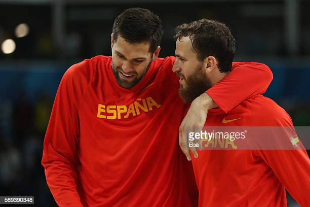 Felipe Reyes and Sergio Rodriguez of Spain celebrate after the Men's Preliminary Round Group B between Spain and Lithuania on Day 8 of the Rio 2016...