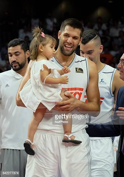 Felipe Reyes of Real Madrid celebrate their victory over the 201516 ACB League FC Barcelona in the Barclaycard Center in Madrid Spain on June 22 2016