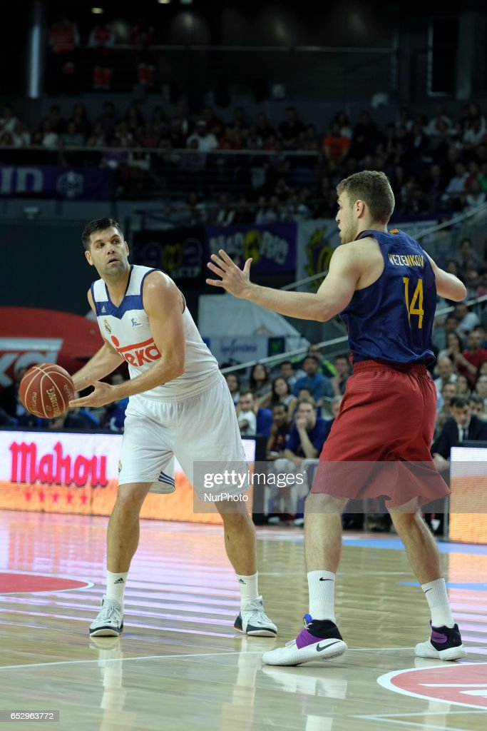 Felipe Reyes of Real Madrid during the Liga Endesa game between Real Madrid v FC Barcelona at Barclaycard Center on March 12, 2017 in Madrid, Spain.