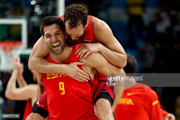 Felipe Reyes of Spain celebrates winning the Men's Basketball Bronze medal game between Australia and Spain on Day 16 of the Rio 2016 Olympic Games...