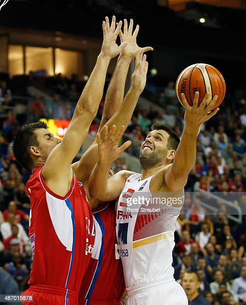 Felipe Reyes of Spain drives to the basket against Serbia during the FIBA EuroBasket 2015 Group B basketball match between Spain and Serbia at Arena...