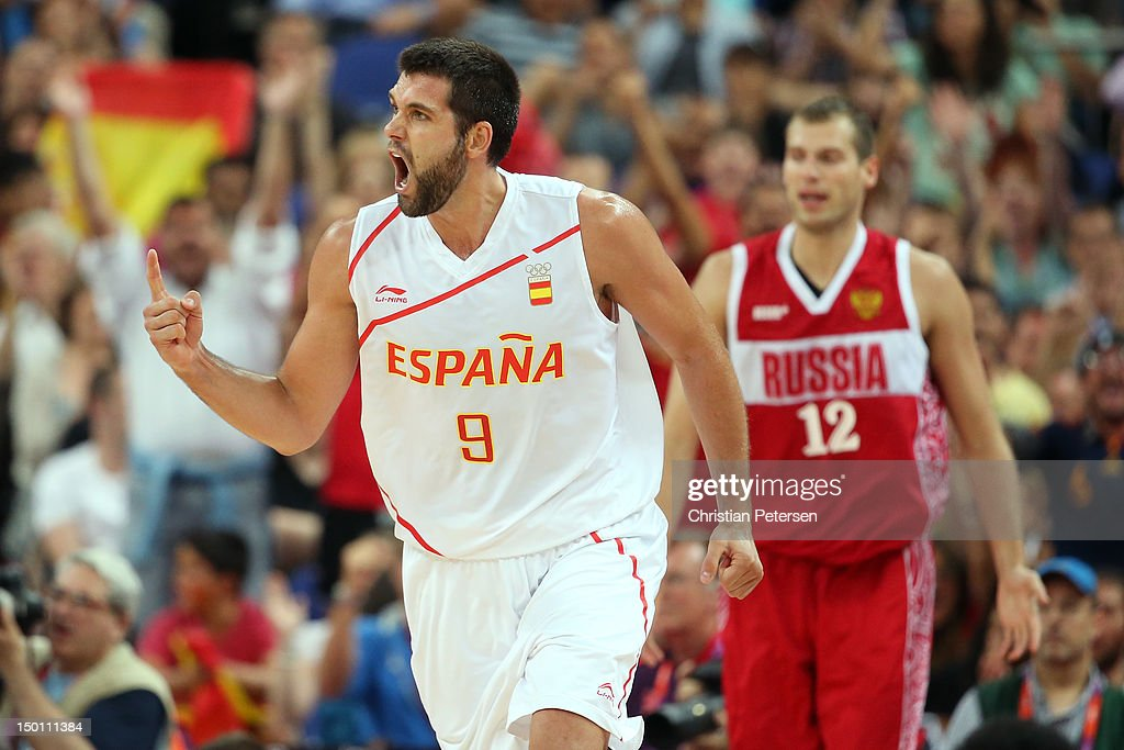 <a gi-track='captionPersonalityLinkClicked' href=/galleries/search?phrase=Felipe+Reyes&family=editorial&specificpeople=732755 ng-click='$event.stopPropagation()'>Felipe Reyes</a> #9 of Spain reacts in the second half against Sergey Monya #12 of Russia during the Men's Basketball semifinal match on Day 14 of the London 2012 Olympic Games at the North Greenwich Arena on August 10, 2012 in London, England.