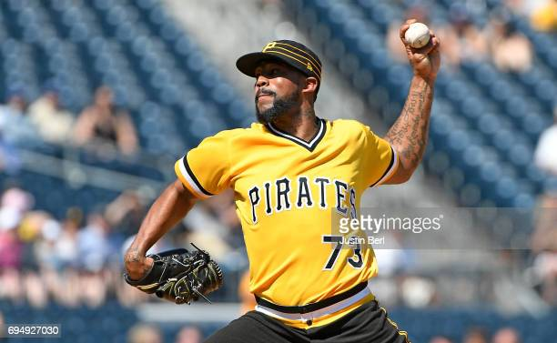 Felipe Rivero of the Pittsburgh Pirates delivers a pitch in the ninth inning during the game against the Miami Marlins at PNC Park on June 11 2017 in...