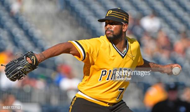 Felipe Rivero of the Pittsburgh Pirates delivers a pitch in the ninth inning during the game against the St Louis Cardinals at PNC Park on September...