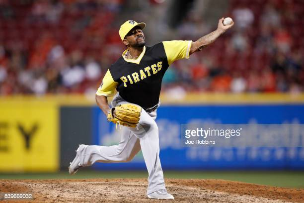 Felipe Rivero of the Pittsburgh Pirates pitches in the ninth inning of a game against the Cincinnati Reds at Great American Ball Park on August 26...