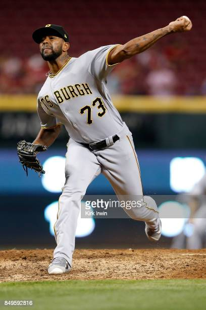 Felipe Rivero of the Pittsburgh Pirates throws a pitch during the game against the Cincinnati Reds at Great American Ball Park on September 15 2017...