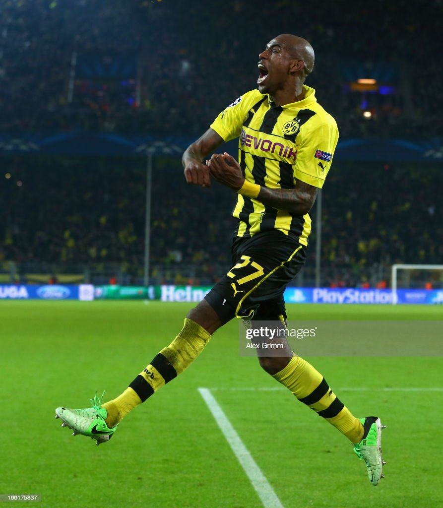 Felipe Santana of Borussia Dortmund celebrates scoring their third and winning goal during the UEFA Champions League quarterfinal second leg match...