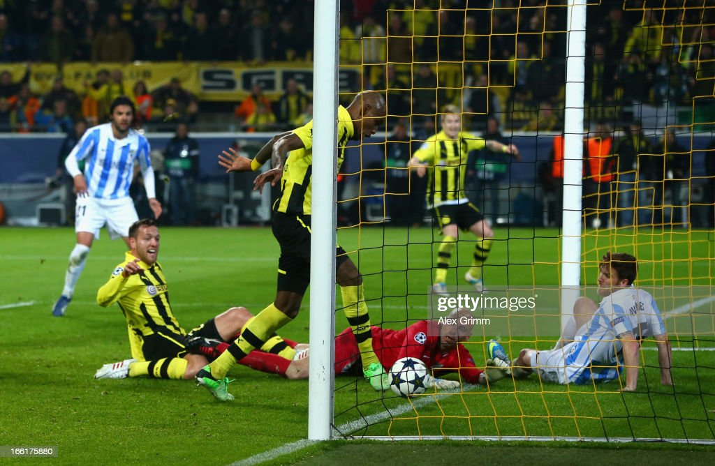 Felipe Santana of Borussia Dortmund scores their third and winning goal during the UEFA Champions League quarterfinal second leg match between...