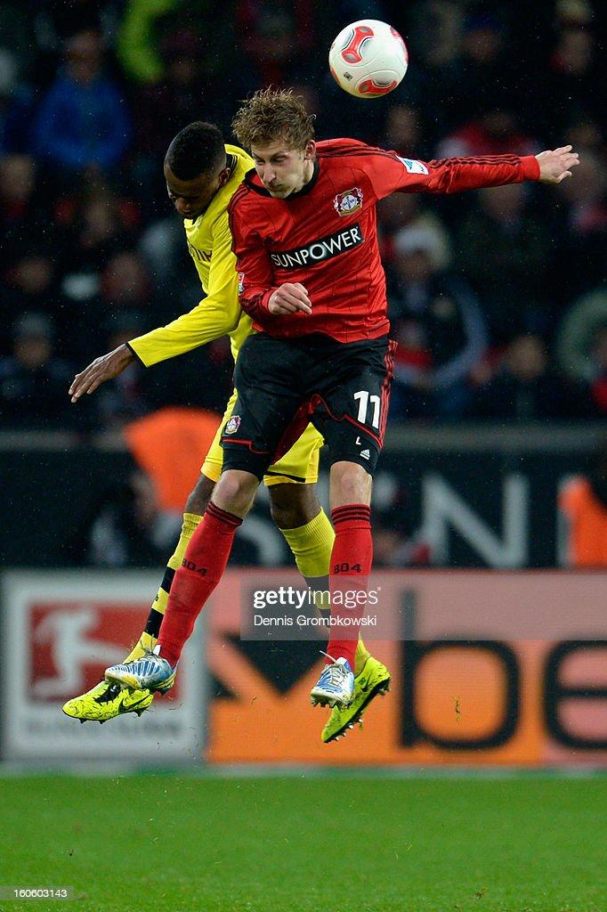 Felipe Santana of Dortmund and Stefan Kiessling of Leverkusen go up for a header during the Bundesliga match between Bayer 04 Leverkusen and Borussia Dortmund at BayArena on February 3, 2013 in Leverkusen, Germany.