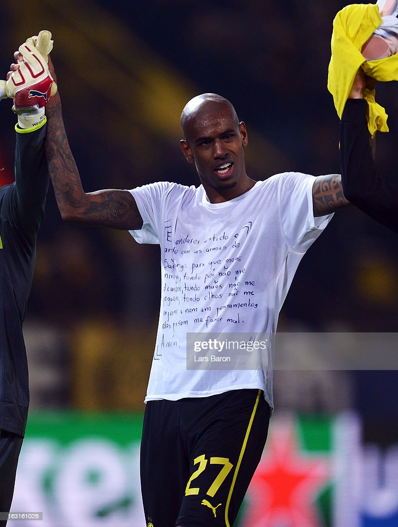 Felipe Santana of Dortmund celebrates after winning the UEFA Champions League round of 16 second leg match between Borussia Dortmund and Shakhtar Donetsk at Signal Iduna Park on March 5, 2013 in Dortmund, Germany.
