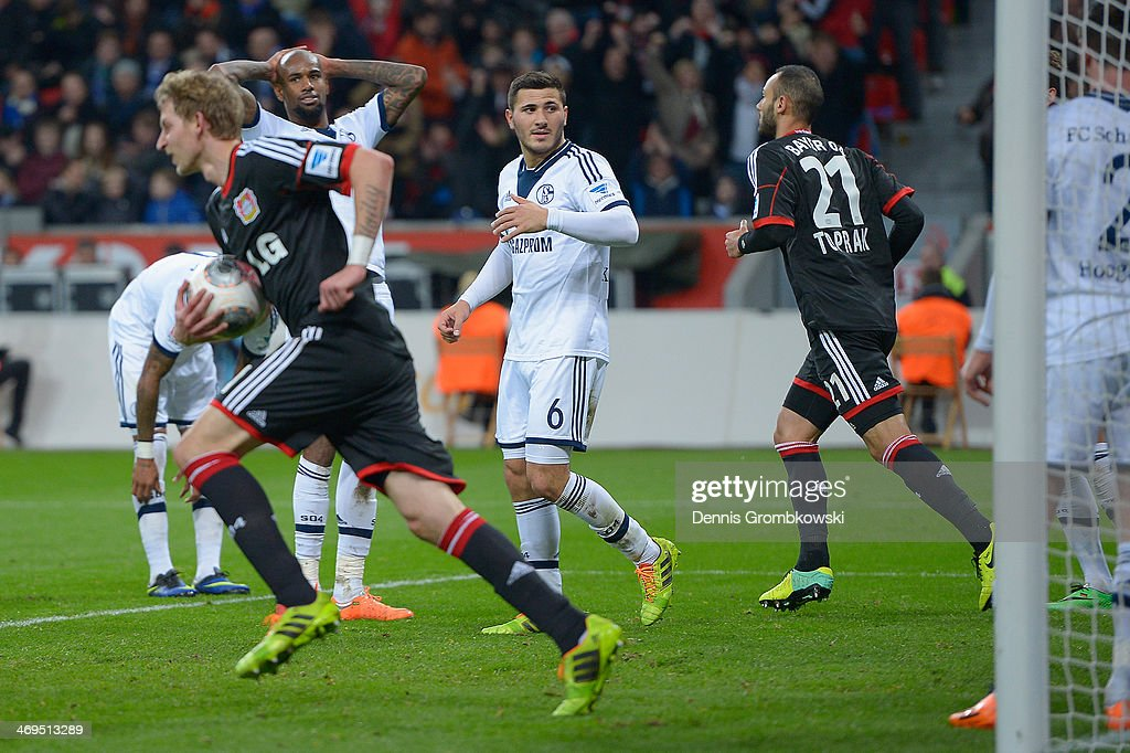 <a gi-track='captionPersonalityLinkClicked' href=/galleries/search?phrase=Felipe+Santana&family=editorial&specificpeople=5422021 ng-click='$event.stopPropagation()'>Felipe Santana</a> of FC Schalke 04 despairs after scoring an own goal during the Bundesliga match between Bayer Leverkusen and FC Schalke 04 at BayArena on February 15, 2014 in Leverkusen, Germany.