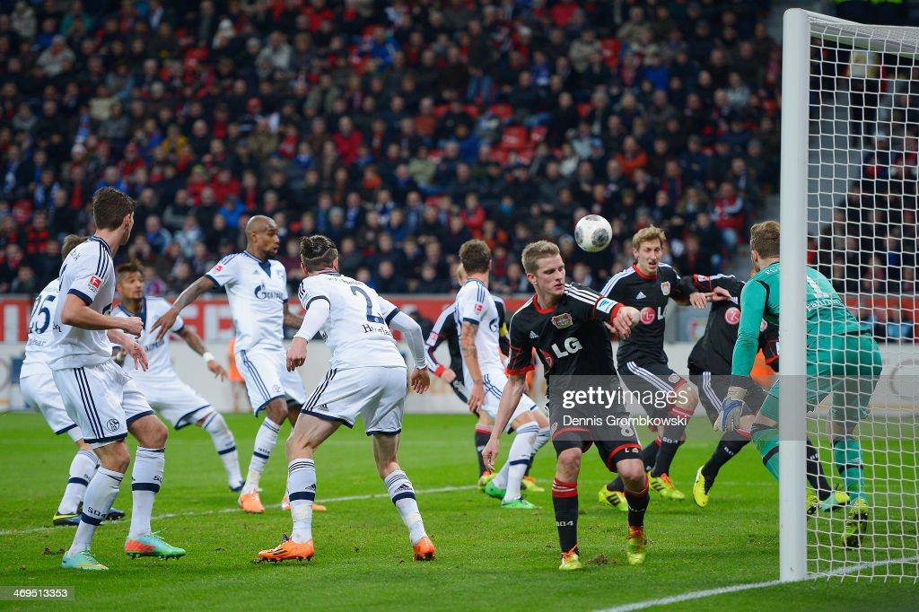 Felipe Santana of FC Schalke 04 scores an own goal during the Bundesliga match between Bayer Leverkusen and FC Schalke 04 at BayArena on February 15, 2014 in Leverkusen, Germany.