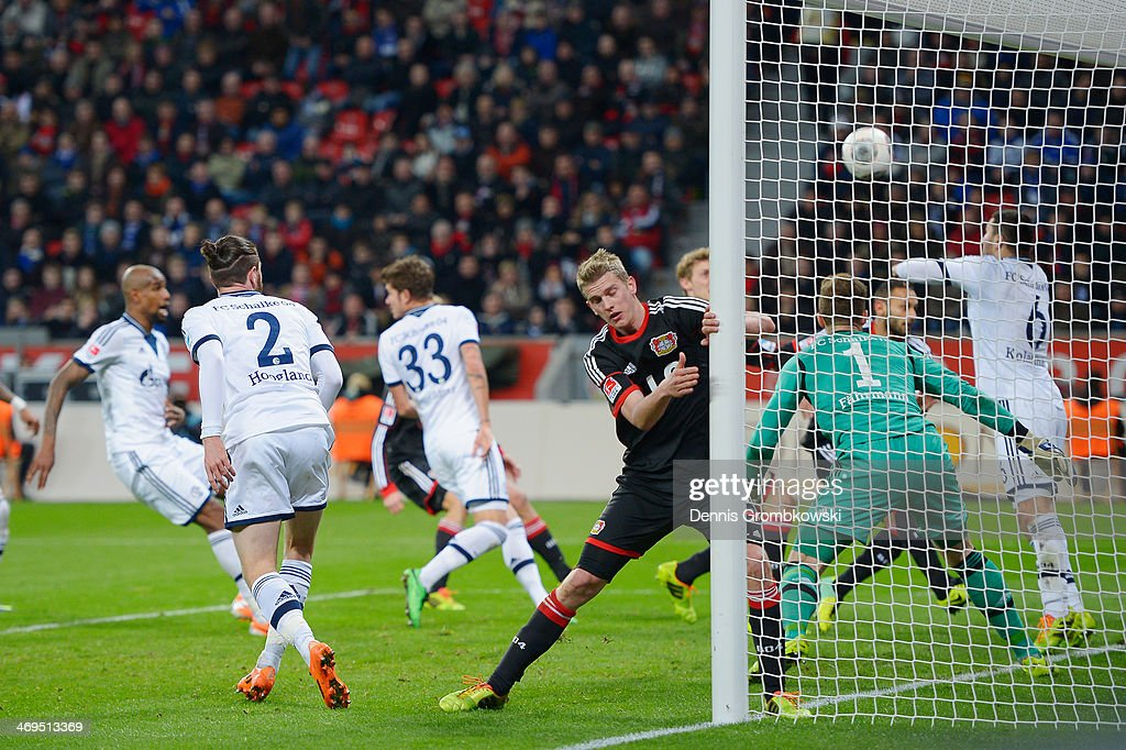 <a gi-track='captionPersonalityLinkClicked' href=/galleries/search?phrase=Felipe+Santana&family=editorial&specificpeople=5422021 ng-click='$event.stopPropagation()'>Felipe Santana</a> of FC Schalke 04 scores an own goal during the Bundesliga match between Bayer Leverkusen and FC Schalke 04 at BayArena on February 15, 2014 in Leverkusen, Germany.