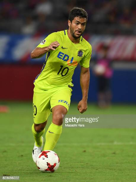 Felipe Silva of Sanfrecce Hiroshima in action during the JLeague Levain Cup PlayOff Stage first leg match between FC Tokyo and Sanfrecce Hiroshima at...