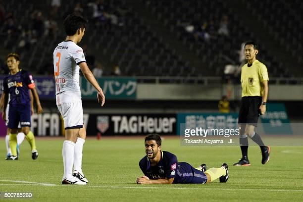 Felipe Silva of Sanfrecce Hiroshima reacts after missing a chance during the JLeague J1 match between Sanfrecce Hiroshima and Omiya Ardija at Edion...