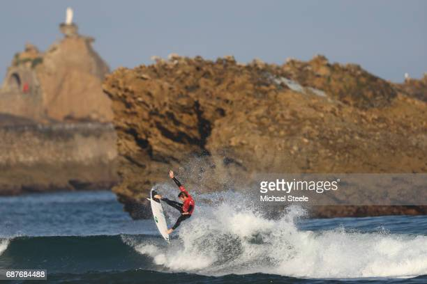 Felipe Suarez of Argentina competing in the Men's Repechage Round 1 during day five of the ISA World Surfing Games 2017 at Grande Plage on May 24...