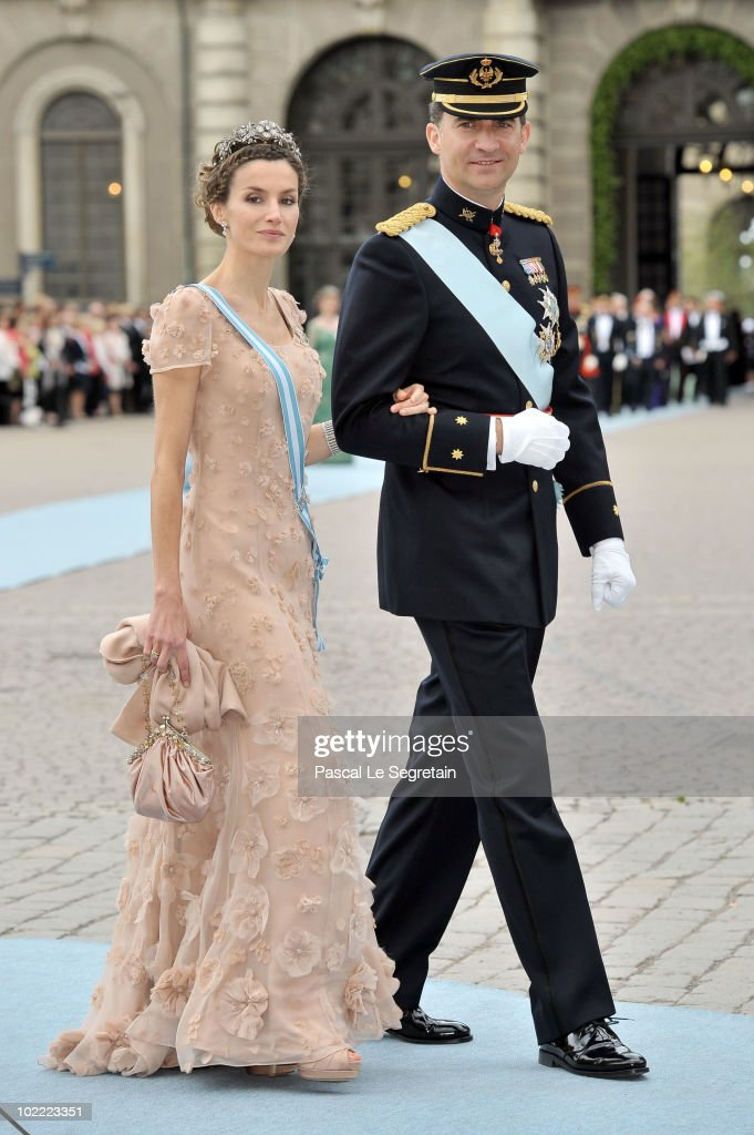 Felipe, the Prince of Asturias and Letizia, the Princess of Asturias attend the Wedding of Crown Princess Victoria of Sweden and Daniel Westling on June 19, 2010 in Stockholm, Sweden.