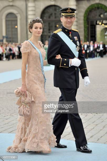 Felipe the Prince of Asturias and Letizia the Princess of Asturias attend the Wedding of Crown Princess Victoria of Sweden and Daniel Westling on...