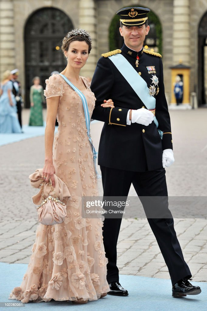 Felipe the Prince of Asturias and Letizia the Princess of Asturias attends the wedding of Crown Princess Victoria of Sweden and Daniel Westling on June 19, 2010 in Stockholm, Sweden.