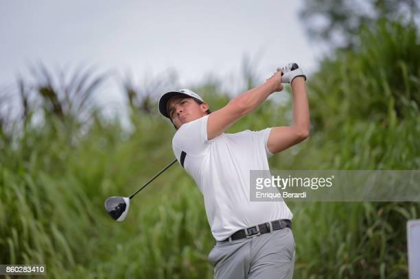 Felipe Velazquez of Venezuela tees off on the 17th hole during the final round of the PGA TOUR Latinoamérica Flor de Cana Open at Mukul Beach Golf...