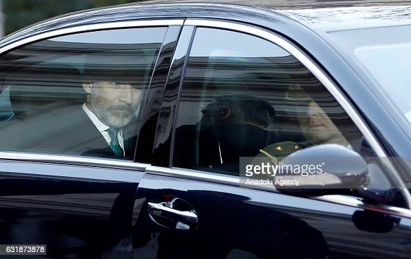 Felipe VI of Spain arrives to attend a meeting with the Presidents of 17 autonomous governments at the Senate in Madrid Spain on January 17 2017