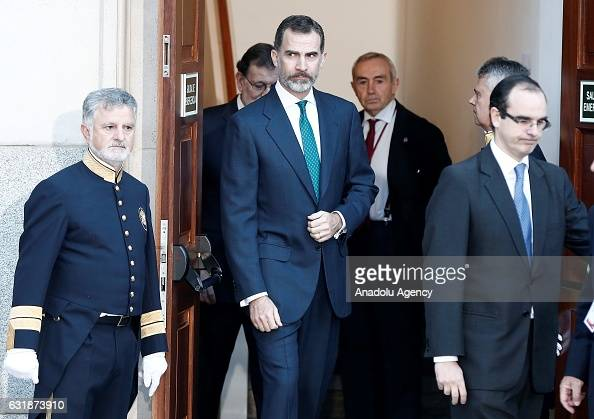 Felipe VI of Spain attends a meeting with the Presidents of 17 autonomous governments at the Senate in Madrid Spain on January 17 2017