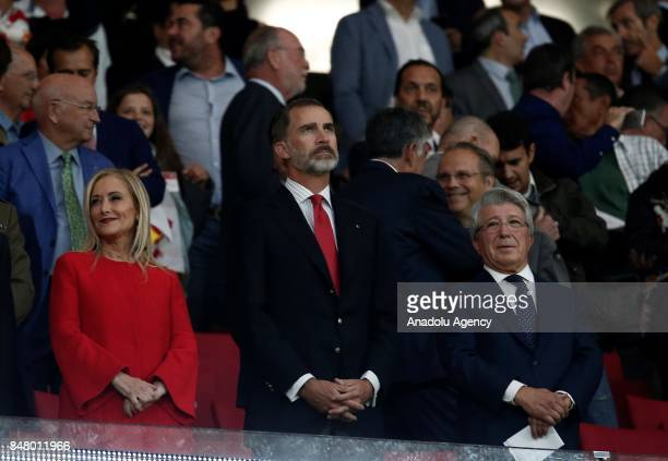 Felipe VI of Spain President of Atletico Madrid Enrique Cerezo and President of the Community of Madrid Cristina Cifuentes are seen piror to the La...
