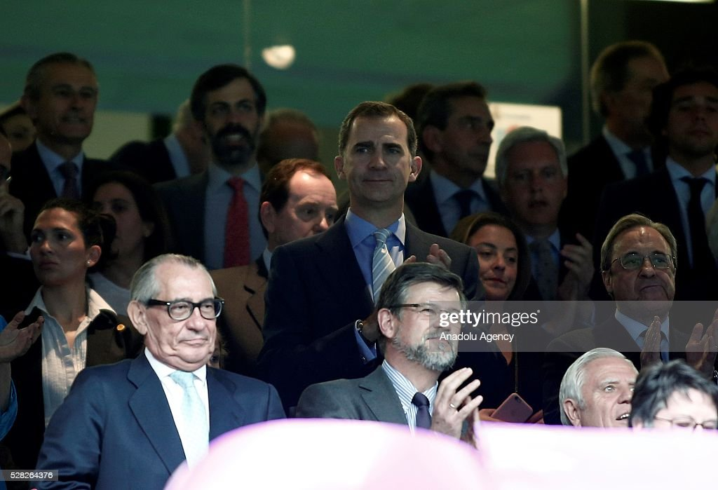 Felipe VI of Spain watches the UEFA Champions League semi-final second leg football match between Real Madrid and Manchester City at the Santiago Bernabeu Stadium in Madrid, Spain on May 4, 2016.