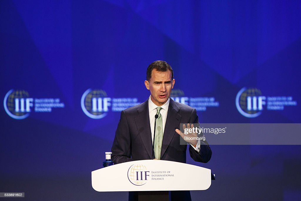 Felipe VI, Spain's king, makes the opening speech at the Institute of International Finance's Spring meeting in Madrid, Spain, on Tuesday, May 24, 2016. Attendees are hearing from experts from across the industry on the global and regional economic outlook, the global regulatory agenda, and the political landscape in Europe and the U.S. Photographer: Angel Navarrete/Bloomberg via Getty Images